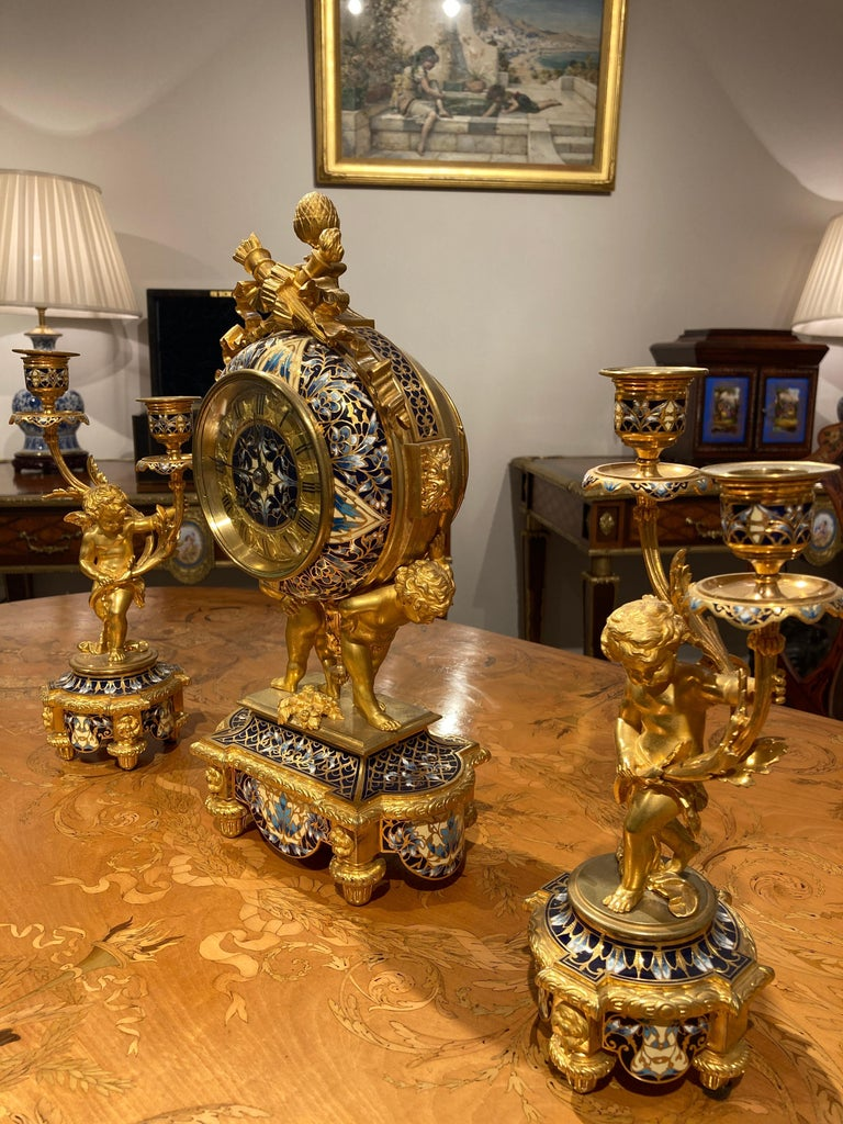 French Mantle Clock Garniture in the Louis XVI Manner For Sale 4