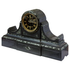 French Mantle Clock of Month Duration in a Polished Slate and Green Marble Case