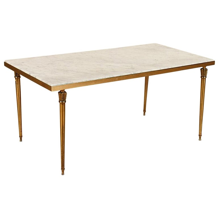 French Marble and Brass Coffee Table