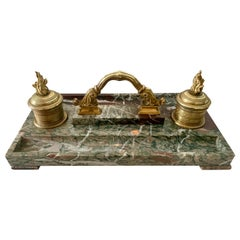 French Marble and Bronze Inkwell