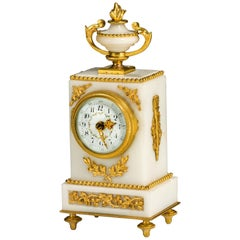 French Marble and Gilt Bronze Small Mantel Clock in Louis XVI Style