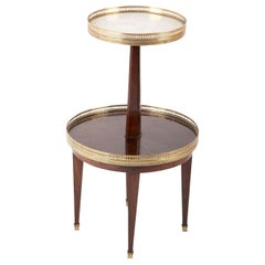 French Marble and Mahogany Two-Tier Side Table