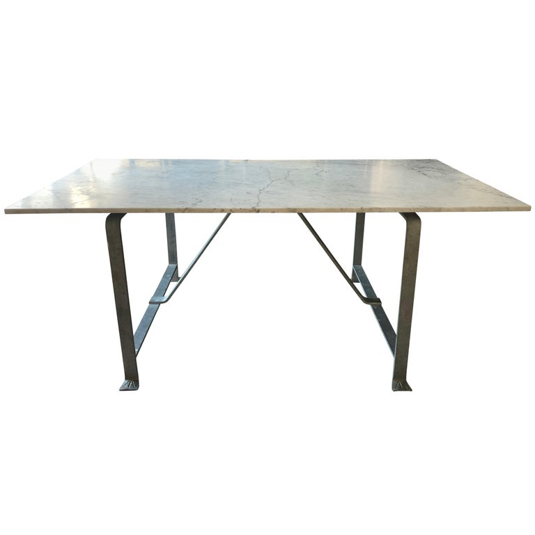 French Marble And Steel Dining Table For