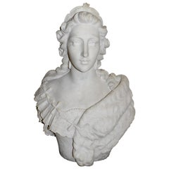 French Marble Bust of Marie Antoinette, circa 1830