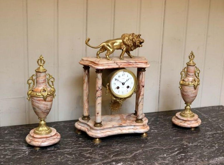 Empire French Marble Clock Garniture For Sale