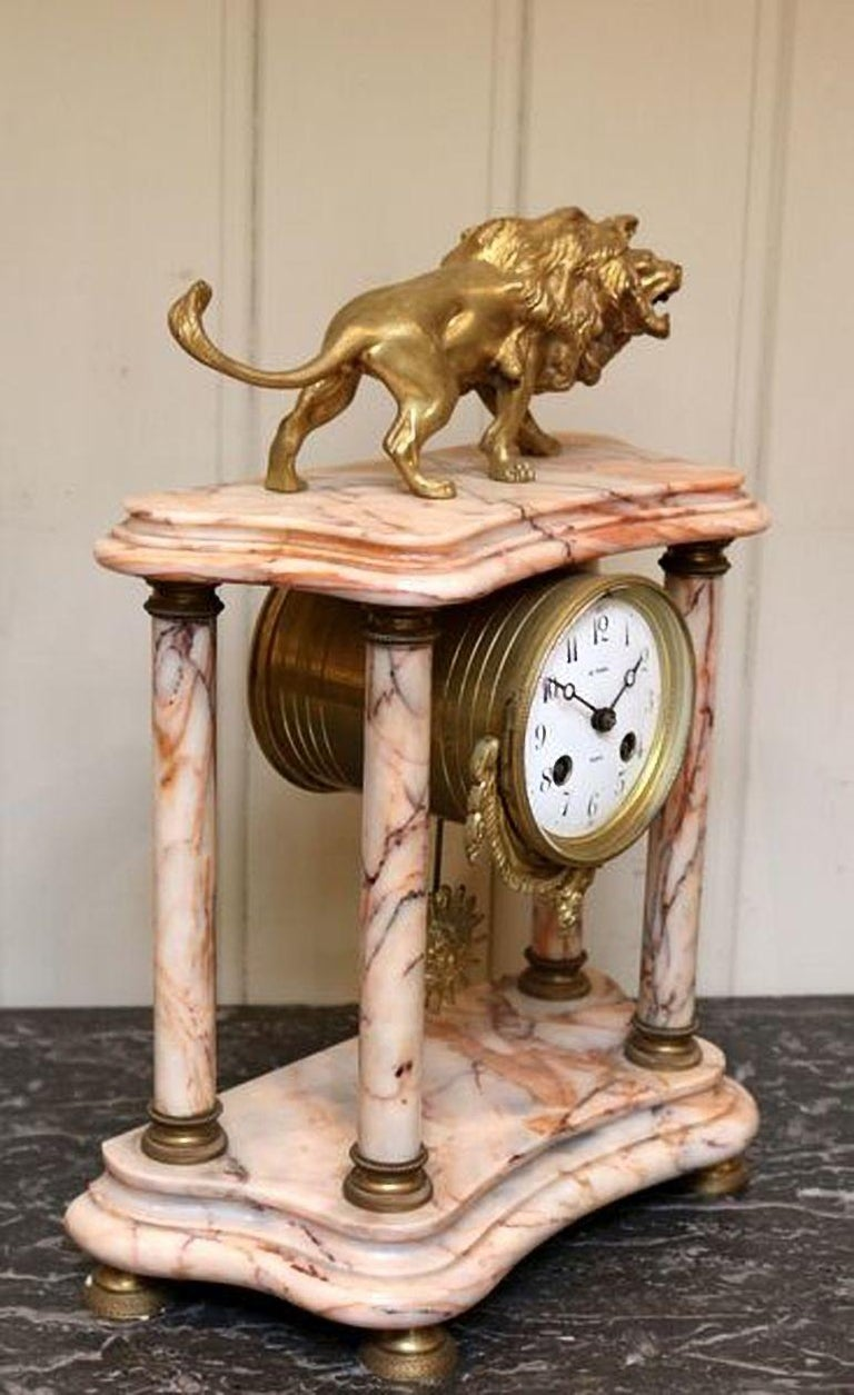French Marble Clock Garniture In Good Condition For Sale In Beaconsfield, GB