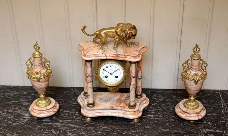 19th Century French Marble Clock Garniture For Sale