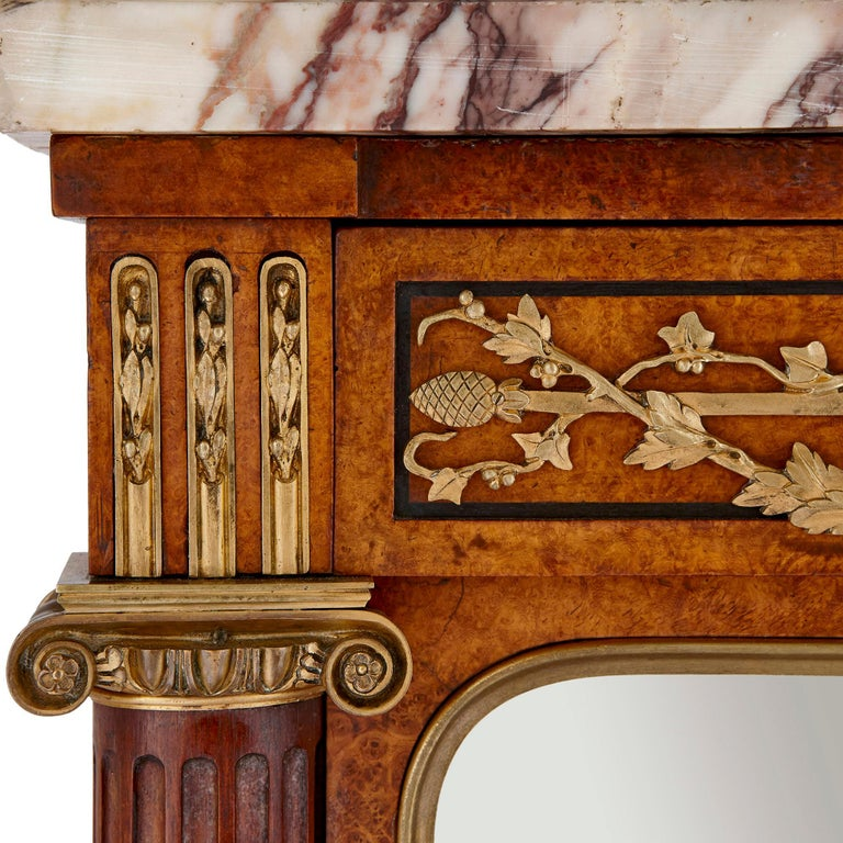 French Marble, Gilt Bronze and Amboyna Burl Side Cabinet For Sale 1