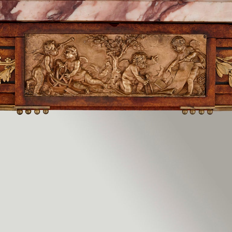 French Marble, Gilt Bronze and Amboyna Burl Side Cabinet For Sale 2