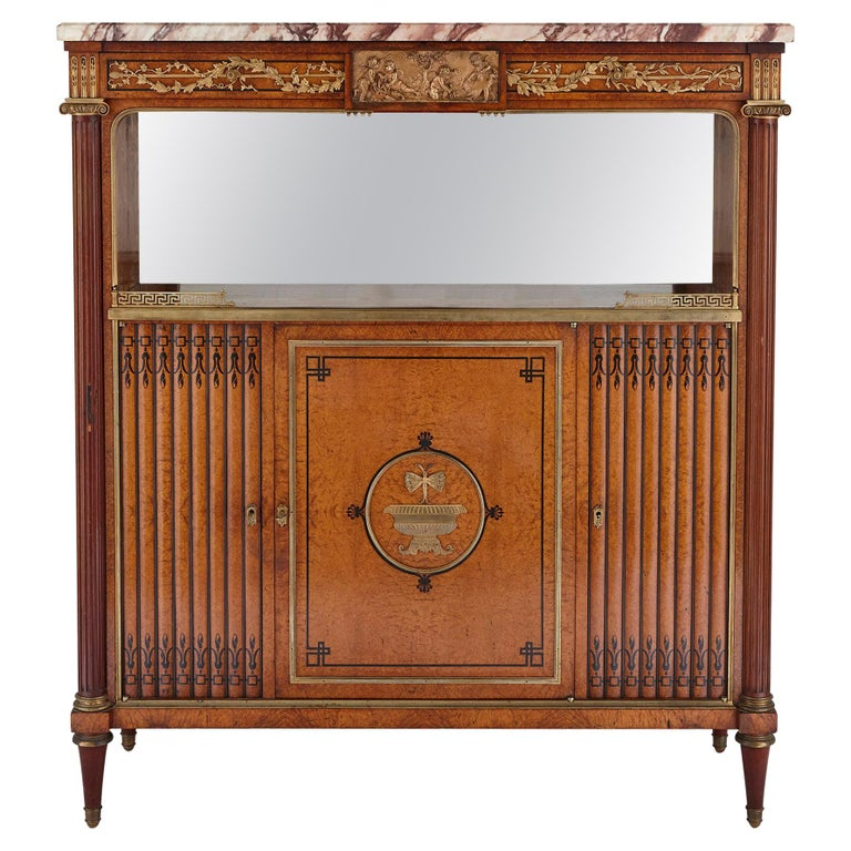 French Marble, Gilt Bronze and Amboyna Burl Side Cabinet For Sale