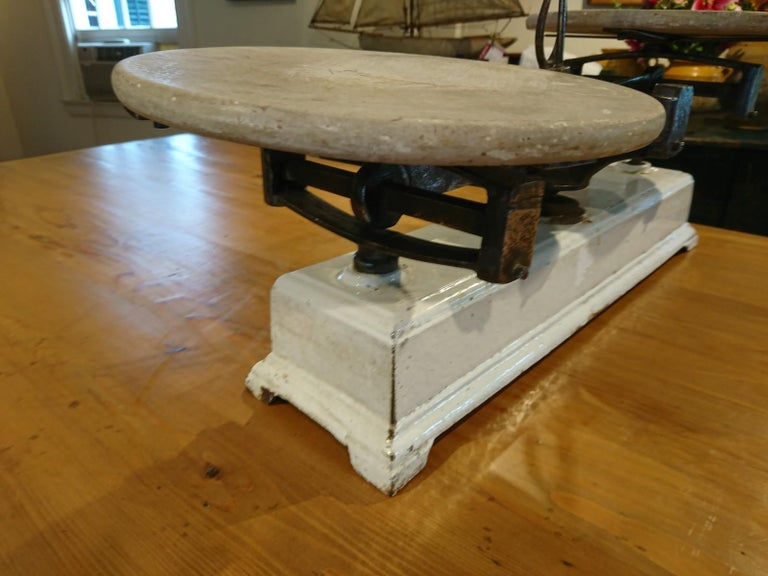 Late 19th Century French Marble Pastry Scale For Sale
