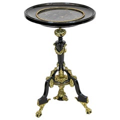 French Marble-Top Black Lacquered Tripod Table