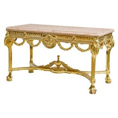 French Marble-Top Carved Gold Leafed Console Table