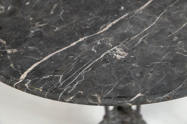 Art Nouveau French Marble Top Cast Iron Bistro Table, circa 1900