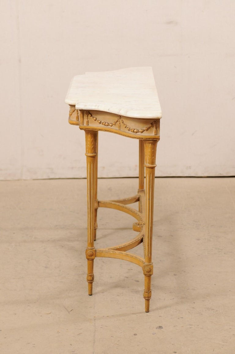 French Marble Top Console Table w/ Neoclassical Style Carvings & Fluted Legs For Sale 6