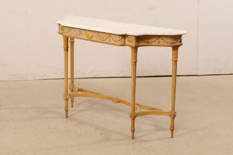 French Marble Top Console Table w/ Neoclassical Style Carvings & Fluted Legs For Sale 7