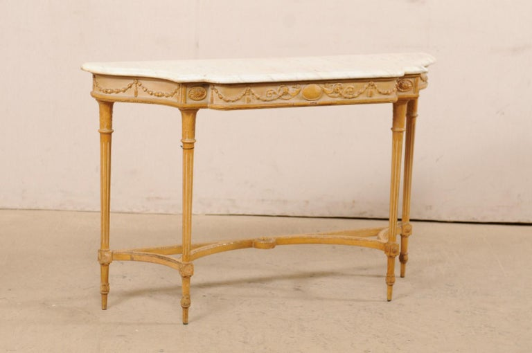 French Marble Top Console Table w/ Neoclassical Style Carvings & Fluted Legs In Good Condition For Sale In Atlanta, GA