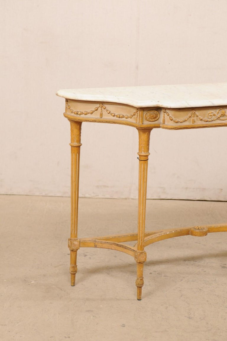 20th Century French Marble Top Console Table w/ Neoclassical Style Carvings & Fluted Legs For Sale