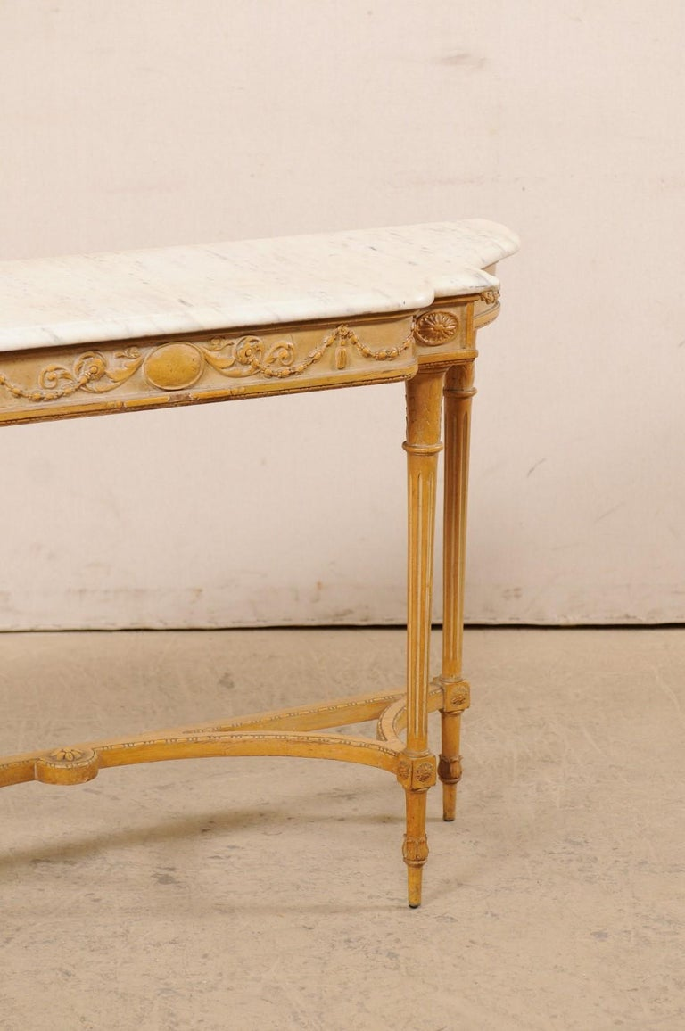 French Marble Top Console Table w/ Neoclassical Style Carvings & Fluted Legs For Sale 1