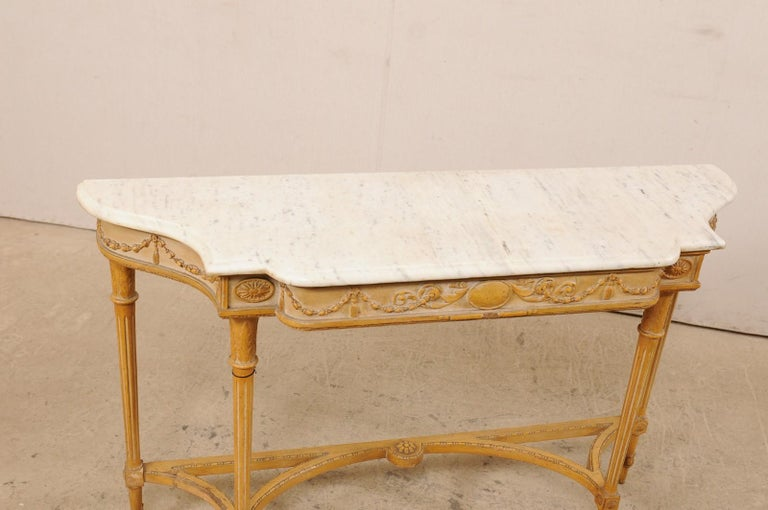 French Marble Top Console Table w/ Neoclassical Style Carvings & Fluted Legs For Sale 2
