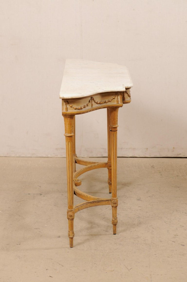 French Marble Top Console Table w/ Neoclassical Style Carvings & Fluted Legs For Sale 3