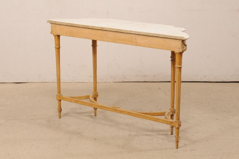 French Marble Top Console Table w/ Neoclassical Style Carvings & Fluted Legs For Sale 4