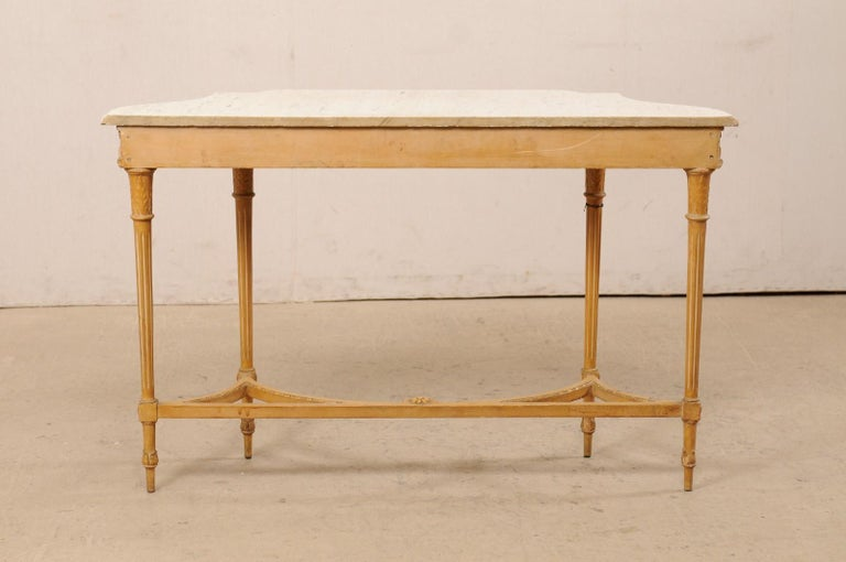 French Marble Top Console Table w/ Neoclassical Style Carvings & Fluted Legs For Sale 5