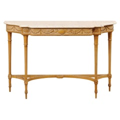 French Marble Top Console Table w/ Neoclassical Style Carvings & Fluted Legs