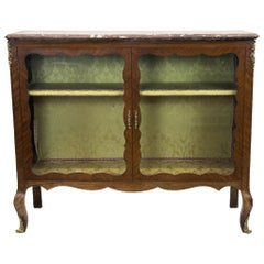 French Marble-Top Display/Bookcase