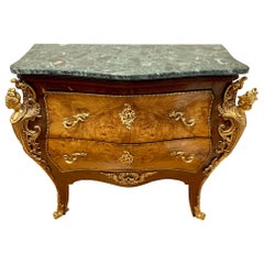 French Marble-Top Inlaid Bombe Chest with Mounted Bronze Ormolu