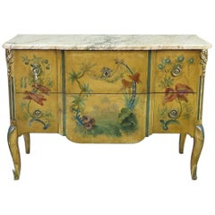 French Marble Top Louis XV Bronze Mounted Chinoiserie Commode, C1920