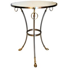French Marble Top Nickel and Bronze Round Table