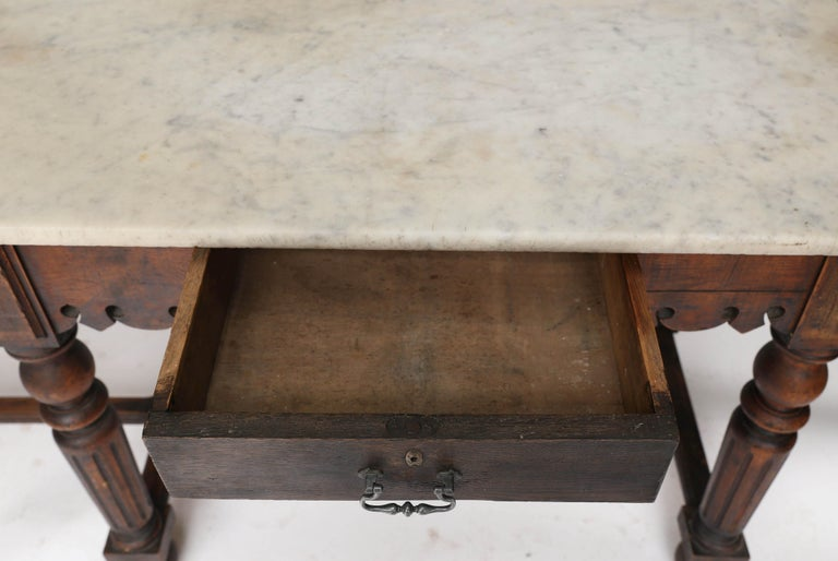 French Marble-Top Oak Butcher Table For Sale 5