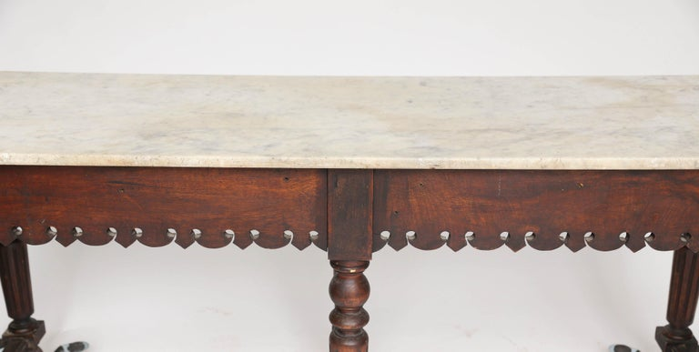 French Marble-Top Oak Butcher Table For Sale 8