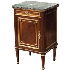 French Marble-Top One-Drawer Mahogany Stand