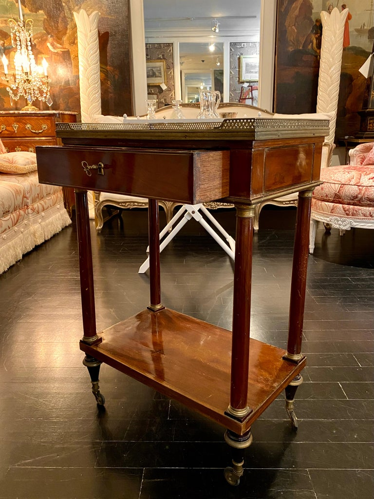 French Marble Top Writing Table, Tooled-Leather Writing Surface, on Casters For Sale 5