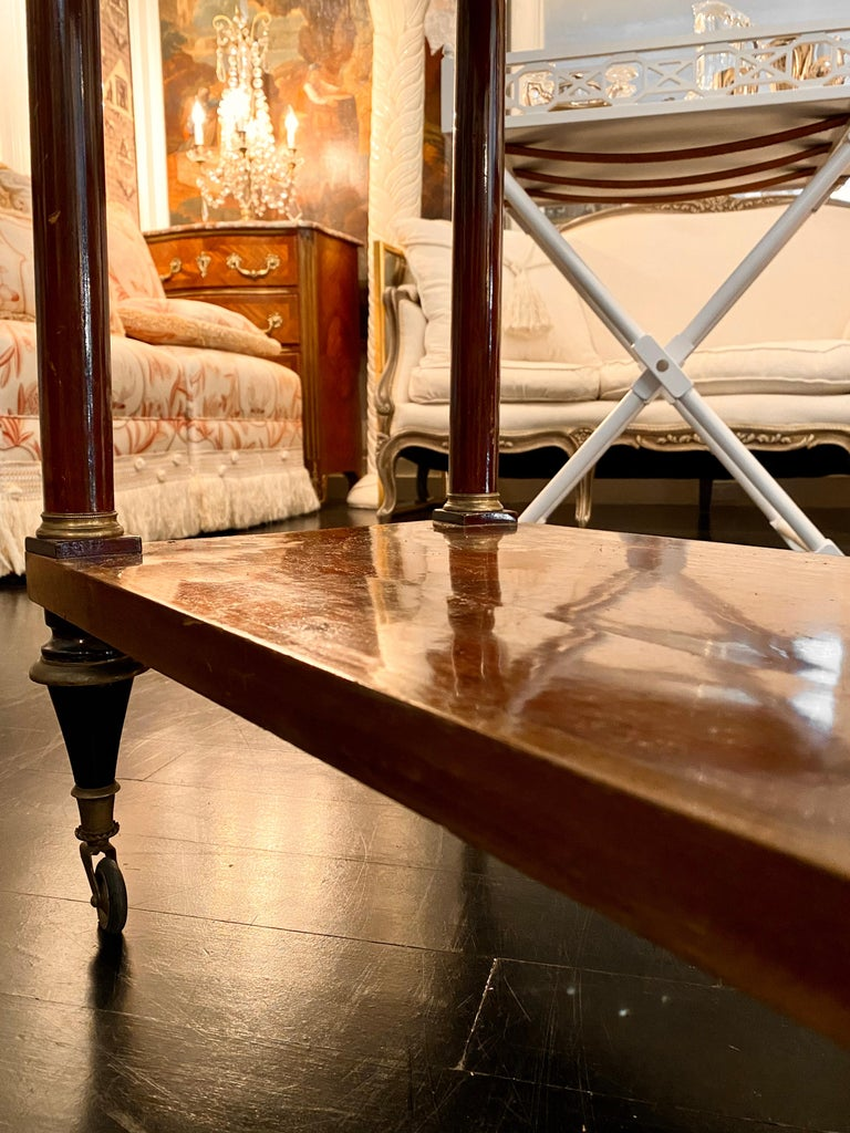 French Marble Top Writing Table, Tooled-Leather Writing Surface, on Casters For Sale 9