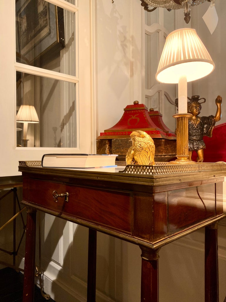 French Marble Top Writing Table, Tooled-Leather Writing Surface, on Casters For Sale 11