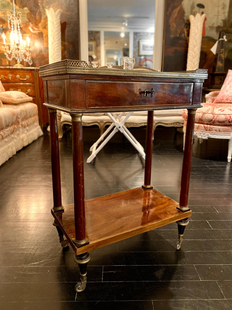 Louis XVI French Marble Top Writing Table, Tooled-Leather Writing Surface, on Casters For Sale