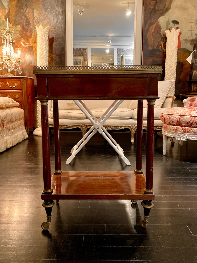 French Marble Top Writing Table, Tooled-Leather Writing Surface, on Casters For Sale 1