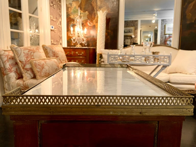 French Marble Top Writing Table, Tooled-Leather Writing Surface, on Casters For Sale 3