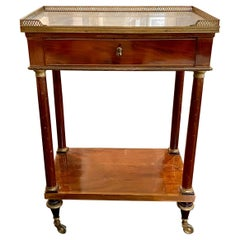 French Marble Top Writing Table, Tooled-Leather Writing Surface, on Casters