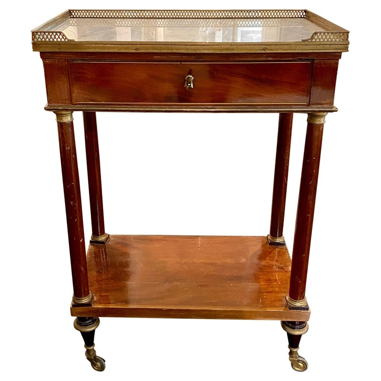 French Marble Top Writing Table, Tooled-Leather Writing Surface, on Casters For Sale