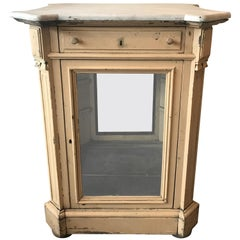 French Marble Topped Glass Cabinet