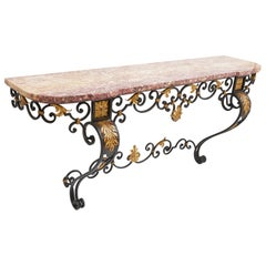 French Marble Topped Wrought Iron Console Table, circa 1900
