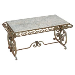 French Marble & Wrought Iron Coffee Table