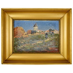 French Marc Mongin Gold Leaf Framed Oil on Linen Landscape Painting, Dated 1919