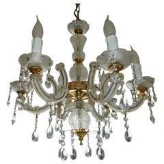French Marie Therese Cut Crystal and Gilt Chandelier