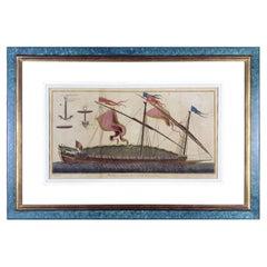 French Marine 1772 Engraving Nautical Paris Diderot Benard Etching Blue Frame