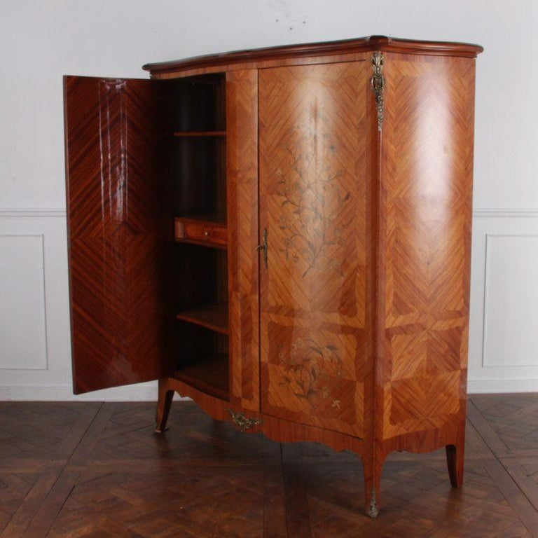 20th Century French Marquetry Bombe Armoire